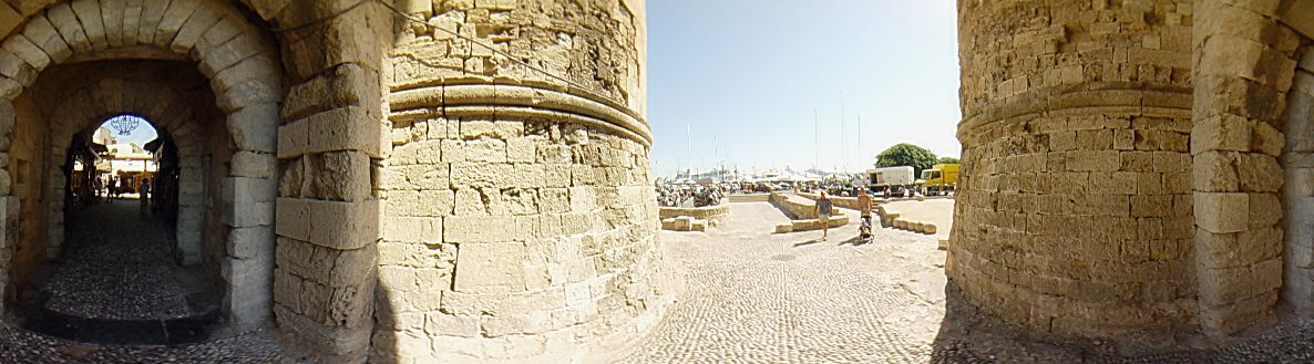 One of the 11 Gates of Rhodes Old town, this is ''Thalasini'' gate, also called kolona. - Rhodes Old Town